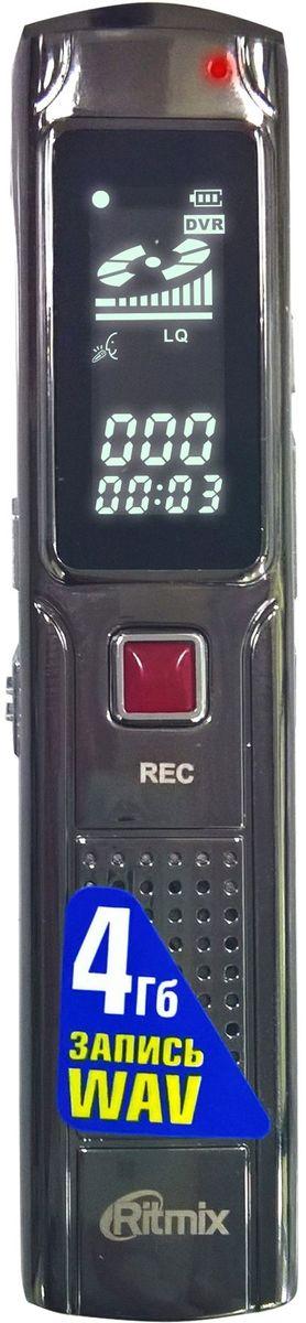 Ritmix RR-110 4Gb диктофон15118841Диктофон в металлическом корпусе, миниатюрный размер, функция VOR, настройки записи HQ, LQ, воспр. MP3, Чб дисплей, быстрое начало записи, вст. память 4Гб, цвет- титан