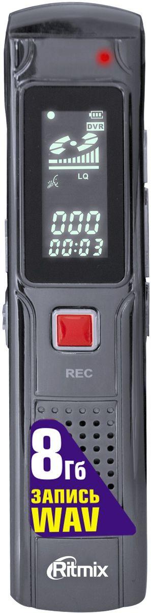 Ritmix RR-110 8Gb диктофон15118842Диктофон в металлическом корпусе, миниатюрный размер, функция VOR, настройки записи HQ, LQ, воспр. MP3, Чб дисплей, быстрое начало записи, вст. память 8Гб, цвет- титан