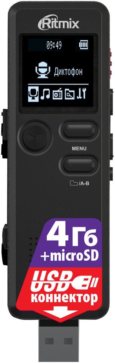 Ritmix RR-610 4Gb диктофон15118898Диктофон с прямым подключением к ПК (встроенный USB-коннектор), VOR, воспр. MP3, радио, настройки записи, таймер записи, динамик, встр. память 4Гб, цвет - черный