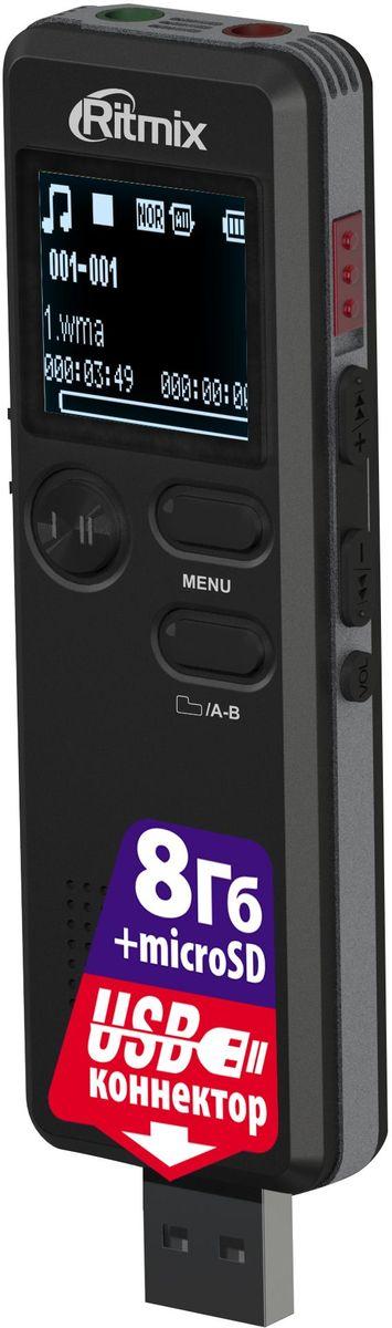 Ritmix RR-610 8Gb диктофон15118899Диктофон с прямым подключением к ПК (встроенный USB-коннектор), VOR, воспр. MP3, радио, настройки записи, таймер записи, динамик, встр. память 8Гб, цвет - черный
