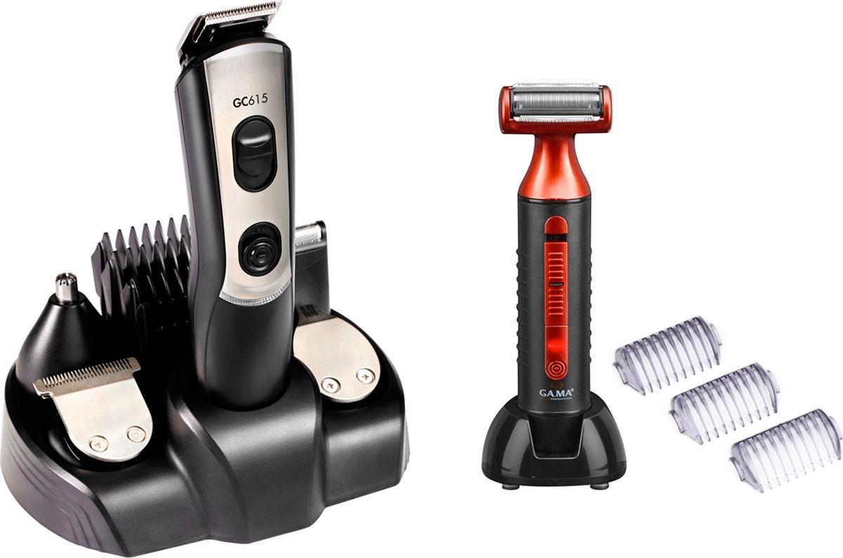 GA.MA GC615 набор для стрижки волос + грумер GA.MA GR500T21.GC615Множество функций в одном ультралегком инструменте: машинка для стрижки волос, триммер для усов и бороды, точный триммер, триммер для удаления волос из носа и ушей, бритва. Лезвия из нержавеющей стали.Беспроводная технология с зарядным устройством (60 мин автономной работы). 12 уровней регулироваки длины стрижкиДлина стрижки волос: 0,8 - 12 мм Длимна стрижки бороды: 0,8 - 1 мм5 насадок: бритва, точный триммер, для носа и ушей, для бороды, для стрижки волосСъемные лезвия. Хромированные элементы корпуса.Аксессуары: адаптер, масло для машинки, щеточка для чистки, ножницы, расческа, защита лезвий.Вес 55 гр
