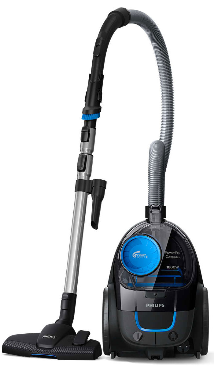 Philips FC9350/01 PowerPro Compact безмешковый компактный пылесосFC9350/01Пылесос Philips PowerPro Compact обеспечивает впечатляющие результаты уборки благодаря технологии PowerCyclone 5 и насадке MultiClean. Конструкция пылесборника создана для гигиеничной очистки. Мотор 1800 Вт обеспечивает высокую мощность всасывания и гарантирует отличные результаты уборки.Технология PowerCyclone 5 усиливает воздушный поток и повышает эффективность, мгновенно отделяя пыль от воздуха. Идеальный результат обеспечивается за счет одновременного выполнения следующих действий: 1) благодаря своей конструкции, воздухозаборник PowerCyclone всасывает воздух с большой скоростью; 2) быстрая циркуляция воздуха обеспечивает эффективное отделение воздуха и оседание частичек пыли в циклонической камере; 3) воздух выходит из камеры через лопасти, которые эффективно отделяют пыль от воздуха, направляя ее в контейнер.Насадка MultiClean гарантирует тщательную очистку всех типов напольных покрытий. Она плотно прилегает к полу и собирает даже самую мелкую пыль.В ручку этого пылесоса встроена удобная мягкая щетка для пыли — она всегда готова к использованию.Элементы соединения ActiveLock обеспечивают удобную установку и отсоединение различных насадок и аксессуаров от телескопической трубки.Легкая и компактная конструкция обеспечивает удобное перемещение прибора во время уборки. Большие задние колеса обеспечивают плавное движение.Гофрированный фильтр EPA с большой поверхностью отличается высокой очищающей способностью. Фильтр собирает мелкие частицы пыли, а благодаря циклонной системе он долго не засоряется и обеспечивает отличные результаты на протяжении длительного срока.