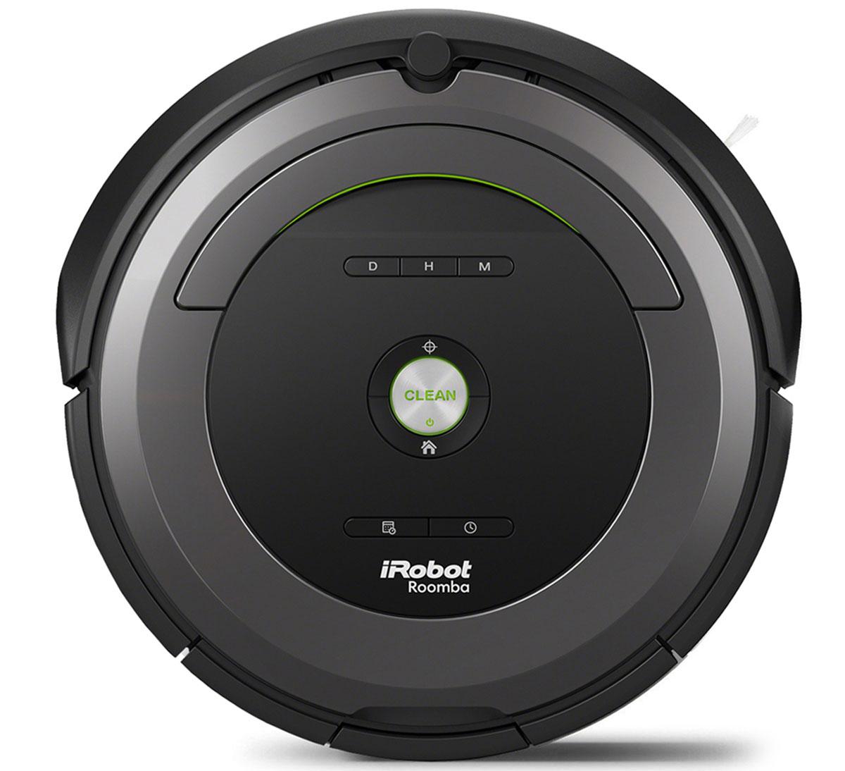 iRobot Roomba 681 робот-пылесосRoomba 681iRobot Roomba 681 – робот-пылесос от известной компании iRobot, который рекомендован для уборки как небольших квартир, так и достаточно габаритных жилых помещений. Модель Roomba 681 объединила в себе всё, чем могут похвастаться роботизированные воины с грязью в доме. Небольшие габариты и мощный функционал – основные преимущества данной модели.Он удобен и в использовании, и в обслуживании. На верхней панели имеется большая кнопка CLEAN, которую достаточно нажать для того, чтобы запустить процесс уборки. Все остальное робот сделает сам. Он самостоятельно ориентируется в пространстве, находит препятствия и обходит их, добирается до самых укромных мест, чистит те места на полу, которые наиболее загрязнены и так далее.Что касается обслуживания, то здесь все максимально просто. При необходимости требуется периодическая чистка накопительной емкости для мусора и щеток, которые собирают весь мусор. На это требуется затрачивать не более нескольких минут. После быстрой чистки робот снова готов к наведению чистоты в доме.С помощью Roomba 681 можно убирать любое количество помещений в пределах одного этажа. При начале уборки пылесос запоминает место, с которого он стартовал, а когда заряд аккумулятора необходимо восполнить, робот самостоятельно возвращается на базу для подзарядки. После завершения зарядки Румба вновь готов в чистке комнат. Он снимается с базы и направляется к тому месту, где уборка была прервана.Робот-пылесос может убирать не только на открытых участках комнаты, но и в труднодоступных местах. За счет своей малой высоты, которая составляет 9,3 см, Roomba 681 свободно заезжает под диваны и кровати, а также любую другую мебель на ножках.Уборка вдоль плинтусов и в углах также не является проблемой. За счет боковой щетки пылесос собирает пыль, направляя ее к валикам, где пыль всасывается.Помимо того, что пылесос включается одной кнопкой CLEAN, робот можно программировать. Период, на который программируется Roomba 681, составля