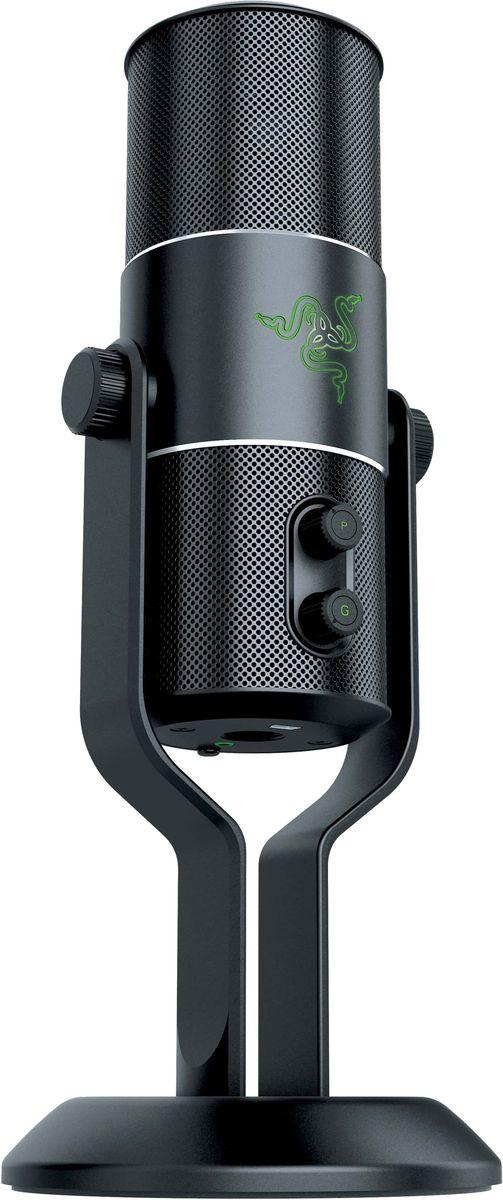 Razer Seiren USB микрофонRZ05-01270100-R3M1Многофункциональный цифровой USB-микрофон с несколькими диаграммами направленности, с возможностью записи профессионального студийного качества, с поддержкой Plug&Play. Он полностью готов к работе.Микрофон с алюминиевой настольной подставкой, которая одновременно служит стабилизатором, легко устанавливается на домашнем или студийном столе без всяких дополнительных креплений, что очень удобно и для записи, и для потоковой трансляции звука. Микрофон Razer Seiren обеспечивает несравненное качество работы, поэтому те, к кому обращена ваша запись, всегда получают идеально чистый звук. Этот цифровой микрофон предназначен удовлетворить самые строгие требования профессиональных артистов и музыкантов при студийной записи, но он остается простым в использовании для трансляции игровых стримов или для записи домашних роликов YouTube. Комплектация: Razer Seiren – элитный цифровой USB-микрофон, настольная подставка, кабель Mini-USB на USB, краткое руководство, важная информация об изделии.Дополнительные аксессуары (продаются отдельно): амортизационная опора для микрофона Razer Seiren и Razer Seiren Pro, поп-фильтр Razer для микрофона Seiren, кофр для микрофона Razer Carrying Case for Razer Seiren.