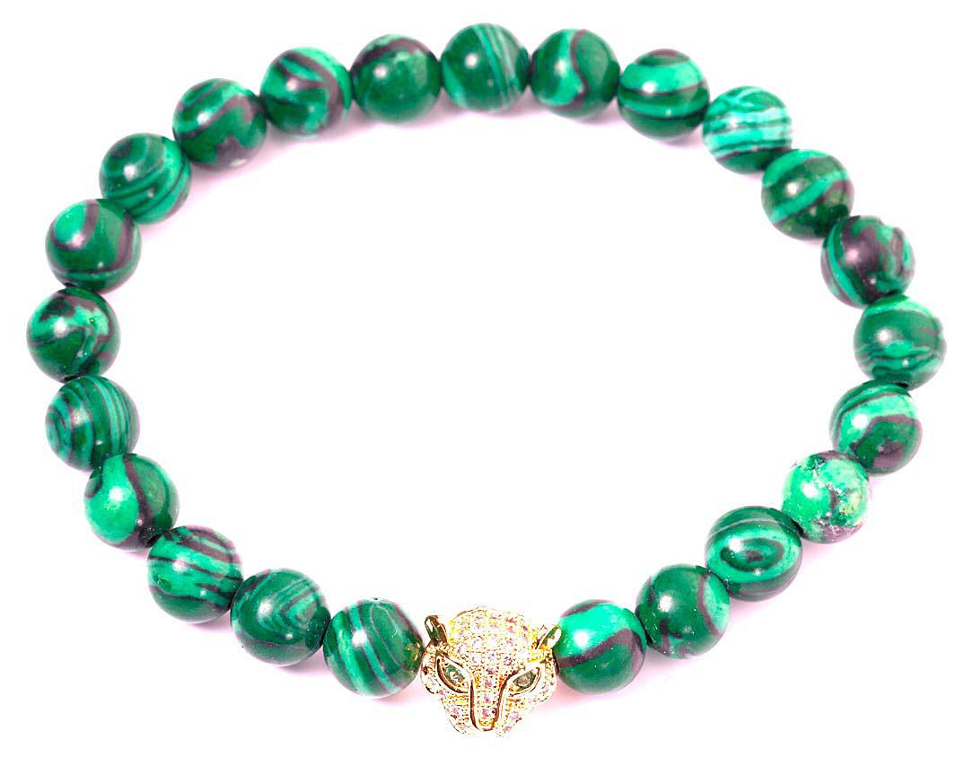 Браслет женский Bradex Глаз тигра, цвет: зеленый. AS 0132Глидерный браслетБраслет на руку в виде ряда овальных бусин из натурального природного малахита. Насыщенный, сочный темно-зеленый цвет камня с более светлыми вкраплениями идеально сочетается со вставкой из металла с золотистым покрытием, выполненной в виде головы тигра.