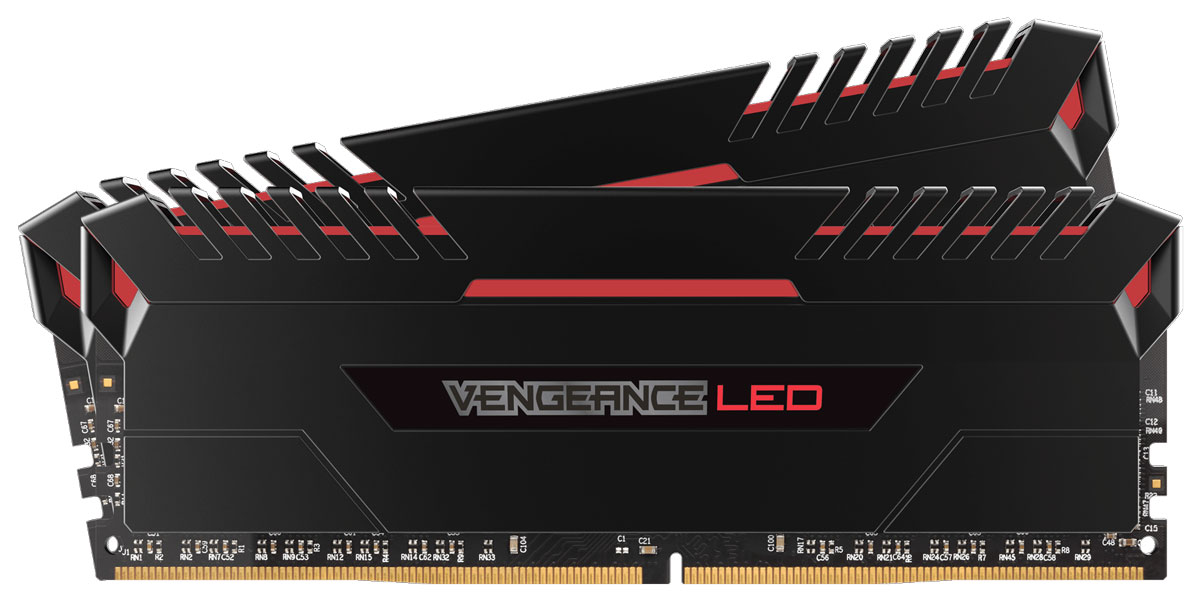 Corsair Vengeance LED DDR4 2x16Gb 3000 МГц комплект модулей оперативной памяти (CMU32GX4M2C3000C15R)CMU32GX4M2C3000C15RНезависимо от того, обновляете ли вы систему, создаете ли сверхбыструю игровую станцию или пытаетесь побить мировой рекорд по увеличению тактовой частоты - компания Corsair превзойдет все ваши ожидания. Добро пожаловать в семью Vengeance LED!Модули памяти Corsair Vengeance LED серии DDR4 создают неповторимый стиль благодаря яркой светодиодной подсветке, а тщательно сконструированная панель подсветки создана специально для соответствия тематическому дизайну большинства материнских плат и компонентов для игровых ПК. Благодаря модулям памяти Vengeance LED даже простая игровая система может выглядеть уникальной.При изготовлении каждого модуля использовались десятислойные высокопроизводительные печатные платы для улучшения пропускания сигналов и специально подобранные интегральные микросхемы, обеспечивающие непревзойденный разгон и надежную работу на новейших материнских платах Intel серий X99 и 100. Предварительно настраиваемые профили XMP 2.0 для надежного автоматического разгона.