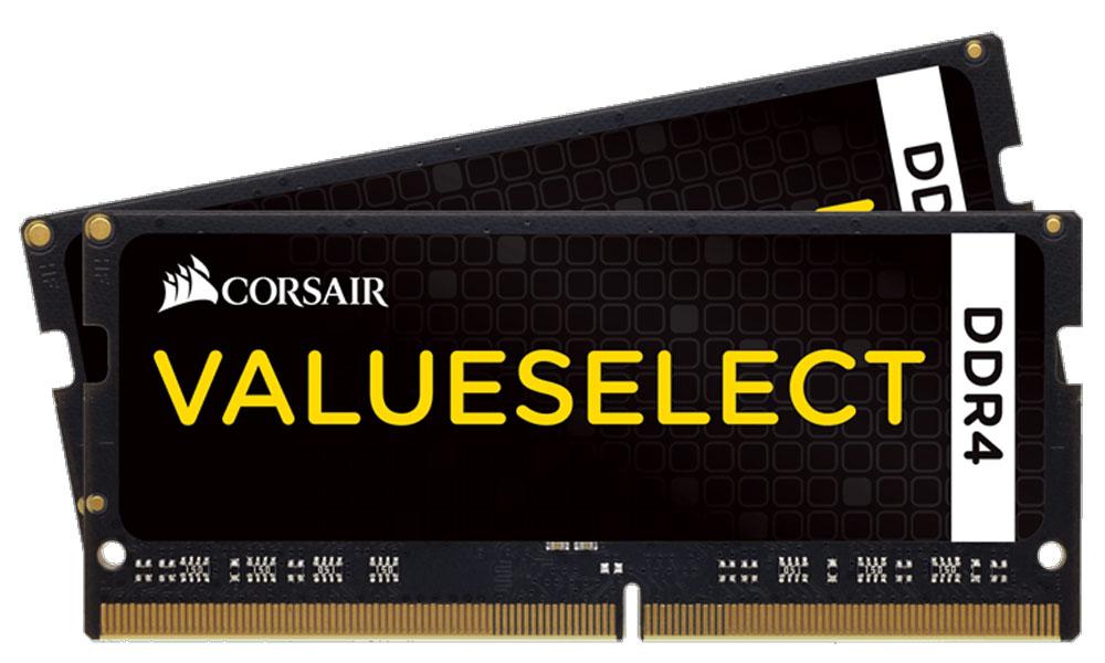 Corsair ValueSelect SO-DIMM DDR4 2x4Gb 2133 МГц комплект модулей оперативной памяти (CMSO8GX4M2A2133C15)CMSO8GX4M2A2133C15Если вы используете свой ноутбук для тяжелых приложений, таких как фото- и видеоредакторы, то он должен иметь столько памяти, насколько это возможно. Добавление комплекта памяти Corsair ValueSelect DDR4 SODIMMпозволит вам работать в многозадачном режиме между несколькими программами одновременно, загружать и редактировать большие файлы без задержек.Модули памяти Corsair ValueSelect DDR4 SODIMM специально разработаны для ноутбуков, в которых установлены процессоры Intel Core i5/i7 шестого или седьмого поколения. Многие ноутбуки оснащены модулями памяти, которые не имеют возможности работать на максимальных частотах, которые поддерживают процессоры. С помощью комплекта высокопроизводительных модулей Corsair ValueSelect DDR4 SODIMM ваш ноутбук автоматически определит самую высокую частоту, которую поддерживает память для наилучшей работы.