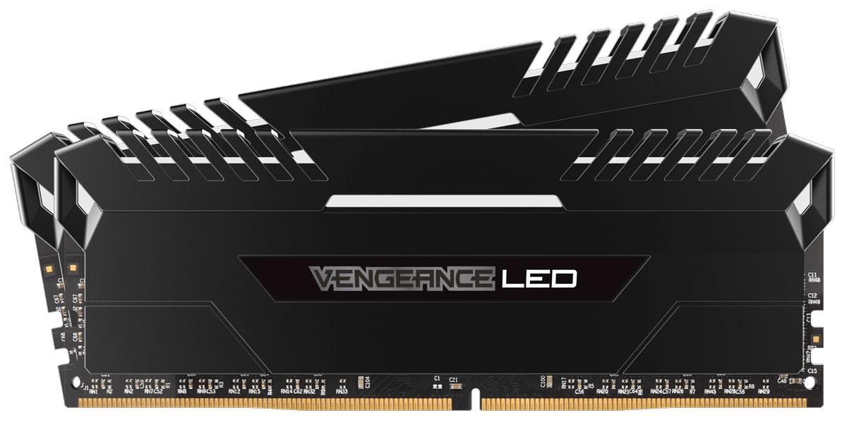 Corsair Vengeance LED DDR4 2x8Gb 2666 МГц комплект модулей оперативной памяти (CMU16GX4M2A2666C16)CMU16GX4M2A2666C16Независимо от того, обновляете ли вы систему, создаете ли сверхбыструю игровую станцию или пытаетесь побить мировой рекорд по увеличению тактовой частоты - компания Corsair превзойдет все ваши ожидания. Добро пожаловать в семью Vengeance LED!Модули памяти Corsair Vengeance LED серии DDR4 создают неповторимый стиль благодаря яркой светодиодной подсветке, а тщательно сконструированная панель подсветки создана специально для соответствия тематическому дизайну большинства материнских плат и компонентов для игровых ПК. Благодаря модулям памяти Vengeance LED даже простая игровая система может выглядеть уникальной.При изготовлении каждого модуля использовались десятислойные высокопроизводительные печатные платы для улучшения пропускания сигналов и специально подобранные интегральные микросхемы, обеспечивающие непревзойденный разгон и надежную работу на новейших материнских платах Intel серий X99 и 100. Предварительно настраиваемые профили XMP 2.0 для надежного автоматического разгона.