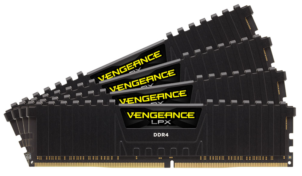 Corsair Vengeance LPX DDR4 4x8Gb 2133 МГц, Black комплект модулей оперативной памяти (CMK32GX4M4A2133C13)CMK32GX4M4A2133C13Модули памяти Vengeance LPX разработаны для более эффективного разгона процессора. Теплоотвод выполнен из чистого алюминия, что ускоряет рассеяние тепла, а восьмислойная печатная плата значительно эффективнее распределяет тепло и предоставляет обширные возможности для разгона. Каждая интегральная микросхема проходит индивидуальный отбор для определения уровня потенциальной производительности.Форм-фактор DDR4 оптимизирован под новейшие материнские платы серии Intel X99/100 Series и обеспечивает повышенную частоту, расширенную полосу пропускания и сниженное энергопотребление по сравнению с модулями DDR3. В целях обеспечения стабильно высокой производительности модули Vengeance LPX DDR4 проходят тестирование совместимости на материнских платах серии X99/100 Series. Имеется поддержка XMP 2.0 для удобного разгона в автоматическом режиме.Максимальная степень разгона ограничивается рабочей температурой. Уникальный дизайн теплоотвода Vengeance LPX обеспечивает оптимальный отвод тепла от интегральных микросхем в канал охлаждения системы, чтобы вы могли добиться большего.Vengeance LPX будет готов к появлению первых материнских плат Mini-ITX и MicroATX для памяти DDR4. Его компактный форм-фактор оптимально подходит для размещения в небольших корпусах или в системах, где требуется оставить свободным максимум внутреннего пространства.
