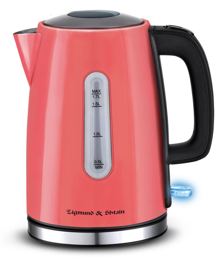 Zigmund & Shtain KE-712 чайник электрическийKE-712Электрический чайник: Мощность: 2 200 Вт• Номинальное напряжение:~220-240 В, 50/60 Гц• Максимальный объем: 1,7 л• Материал корпуса: нержавеющая сталь Контроллер: Strix; 2 ступени защиты: -- автоматическое отключение при закипании; -- отключение при недостаточном количестве воды; • Габаритные размеры: 21.1 х 15.8 х 22.7 см • Вес: 0,85 кг• Длина сетевого шнура: 0,7 м• Цвет: коралловый