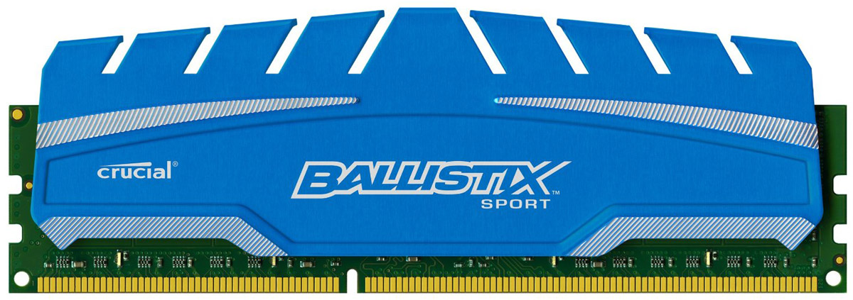Crucial Ballistix Sport XT DDR3 8Gb 1600 МГц модуль оперативной памяти ((BLS8G3D169DS3CEU)(BLS8G3D169DS3CEUМодуль оперативной памяти Crucial Ballistix Sport XT типа DDR3 предоставляет качество работы, надежность и производительность, требуемую для современных компьютеров сегодня. Оснащен теплоотводом, выполненным из чистого алюминия, что ускоряет рассеяние тепла.Объем модуля памяти в 8 ГБ позволит свободно работать со стандартными, офисными и профессиональными ресурсоемкими программами, а также современными требовательными играми. Работа осуществляется при тактовой частоте 1600 МГц и пропускной способности, достигающей до 12800 Мб/с, что гарантирует качественную синхронизацию и быструю передачу данных, а также возможность выполнения множества действий в единицу времени. Параметры тайминга 9-9-9-24 гарантируют быструю работу системы.
