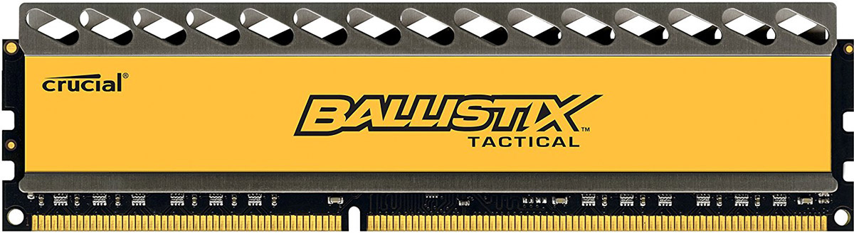 Crucial Ballistix Tactical DDR3 8Gb 1866 МГц модуль оперативной памяти (BLT8G3D1869DT1TX0CEU)BLT8G3D1869DT1TX0CEUМодуль оперативной памяти Crucial Ballistix Tactical типа DDR3 предоставляет качество работы, надежность и производительность, требуемую для современных компьютеров сегодня. Оснащен теплоотводом, выполненным из чистого алюминия, что ускоряет рассеяние тепла.Объем оперативной памяти в 8 ГБ позволит свободно работать со стандартными, офисными и профессиональными ресурсоемкими программами, а также современными требовательными играми. Работа осуществляется при тактовой частоте 1866 МГц и пропускной способности, достигающей до 14900 Мб/с, что гарантирует качественную синхронизацию и быструю передачу данных, а также возможность выполнения множества действий в единицу времени. Параметры тайминга 9-9-9-27 гарантируют быструю работу системы.