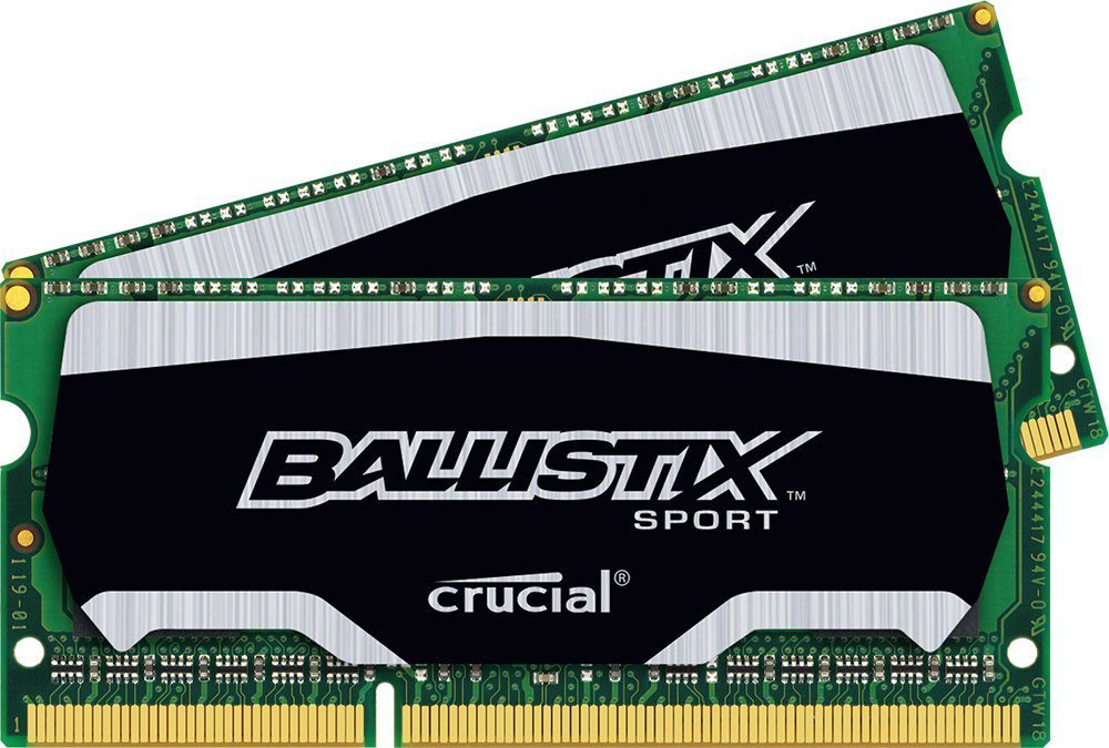 Crucial Ballistix Sport SO-DIMM DDR3L 2х4Gb 1600 МГц комплект модулей оперативной памяти (BLS2C4G3N169ES4CEU)BLS2C4G3N169ES4CEUМодули оперативной памяти Crucial Ballistix Sport типа SO-DIMM DDR3L предоставляют качество работы, надежность и производительность, требуемую для современных ноутбуков сегодня. Оснащены теплоотводом, выполненным из чистого алюминия, что ускоряет рассеяние тепла. Благодаря низкому напряжению (1,35 В), снижается потребление энергии, что обеспечивает снижение нагрева и бесшумную работу ноутбука.Общий объем памяти составляет 8 ГБ, что позволит свободно работать со стандартными, офисными и профессиональными ресурсоемкими программами, а также современными требовательными играми. Работа осуществляется при тактовой частоте 1600 МГц и пропускной способности, достигающей до 12800 Мб/с, что гарантирует качественную синхронизацию и быструю передачу данных, а также возможность выполнения множества действий в единицу времени. Параметры тайминга 9-9-9-24 гарантируют быструю работу системы.