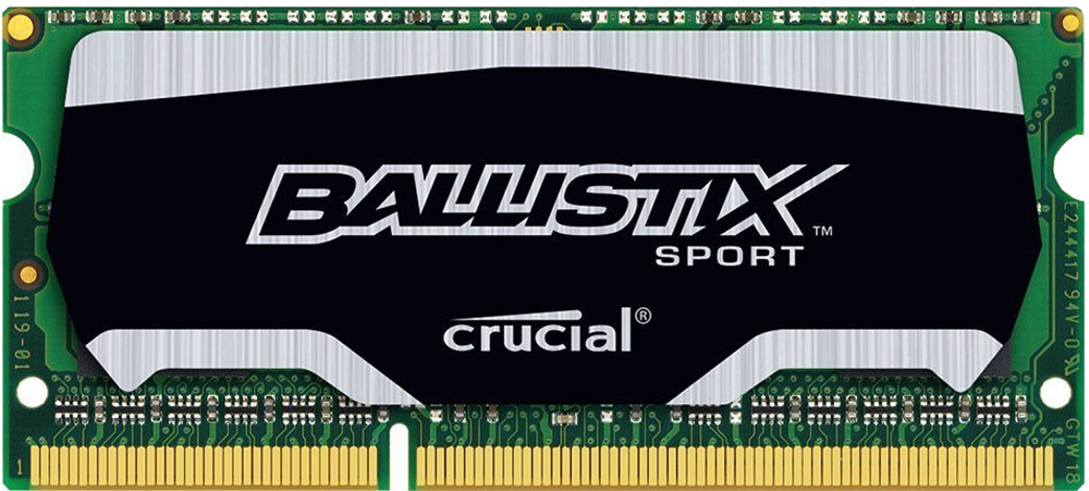 Crucial Ballistix Sport SO-DIMM DDR3L 4Gb 1600 МГц модуль оперативной памяти (BLS4G3N169ES4CEU)BLS4G3N169ES4CEUМодуль оперативной памяти Crucial Ballistix Sport типа SO-DIMM DDR3L предоставляет качество работы, надежность и производительность, требуемую для современных ноутбуков сегодня. Оснащен теплоотводом, выполненным из чистого алюминия, что ускоряет рассеяние тепла. Благодаря низкому напряжению (1,35 В), снижается потребление энергии, что обеспечивает снижение нагрева и бесшумную работу ноутбука.Работа модуля осуществляется при тактовой частоте 1600 МГц и пропускной способности, достигающей до 12800 Мб/с, что гарантирует качественную синхронизацию и быструю передачу данных, а также возможность выполнения множества действий в единицу времени. Параметры тайминга 9-9-9-24 гарантируют быструю работу системы.
