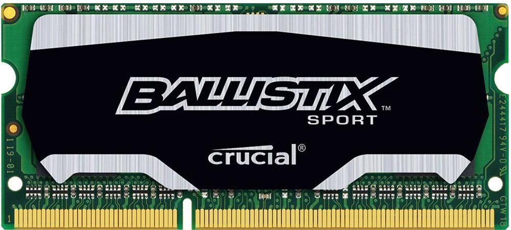 Crucial Ballistix Sport SO-DIMM DDR3L 4Gb 1866 МГц модуль оперативной памяти (BLS4G3N18AES4CEU)BLS4G3N18AES4CEUМодуль оперативной памяти Crucial Ballistix Sport типа SO-DIMM DDR3L предоставляет качество работы, надежность и производительность, требуемую для современных ноутбуков сегодня. Оснащен теплоотводом, выполненным из чистого алюминия, что ускоряет рассеяние тепла. Благодаря низкому напряжению (1,35 В), снижается потребление энергии, что обеспечивает снижение нагрева и бесшумную работу ноутбука.Работа модуля осуществляется при тактовой частоте 1866 МГц и пропускной способности, достигающей до 14900 Мб/с, что гарантирует качественную синхронизацию и быструю передачу данных, а также возможность выполнения множества действий в единицу времени. Параметры тайминга 10-10-10-30 гарантируют быструю работу системы.