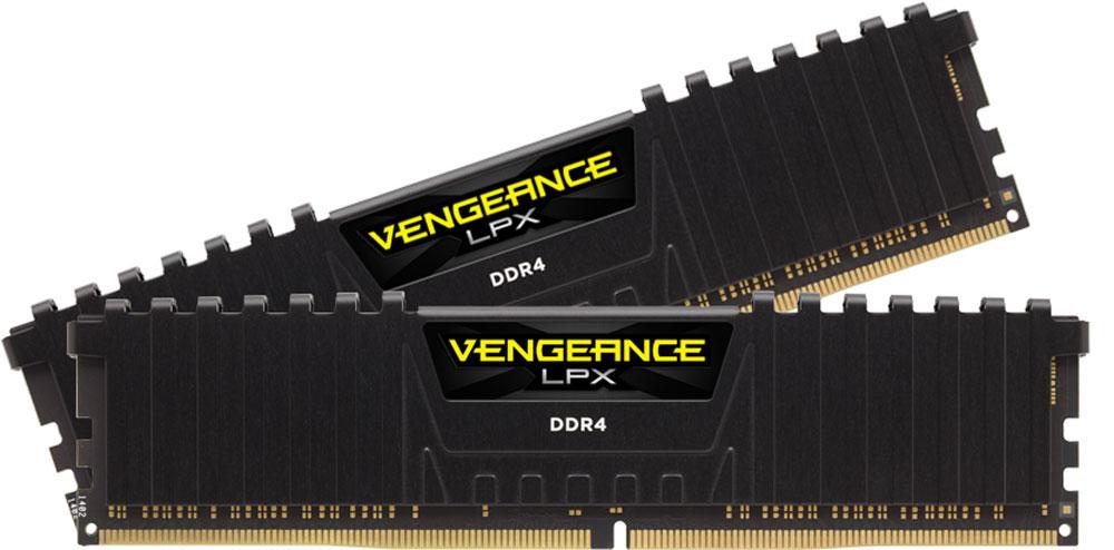 Corsair Vengeance LPX DDR4 2х16Gb 2400 МГц, Black комплект модулей оперативной памяти (CMK32GX4M2A2400C14)CMK32GX4M2A2400C14Модули памяти Vengeance LPX разработаны для более эффективного разгона процессора. Теплоотвод выполнен из чистого алюминия, что ускоряет рассеяние тепла, а восьмислойная печатная плата значительно эффективнее распределяет тепло и предоставляет обширные возможности для разгона. Каждая интегральная микросхема проходит индивидуальный отбор для определения уровня потенциальной производительности.Форм-фактор DDR4 оптимизирован под новейшие материнские платы серии Intel X99/100 Series и обеспечивает повышенную частоту, расширенную полосу пропускания и сниженное энергопотребление по сравнению с модулями DDR3. В целях обеспечения стабильно высокой производительности модули Vengeance LPX DDR4 проходят тестирование совместимости на материнских платах серии X99/100 Series. Имеется поддержка XMP 2.0 для удобного разгона в автоматическом режиме.Максимальная степень разгона ограничивается рабочей температурой. Уникальный дизайн теплоотвода Vengeance LPX обеспечивает оптимальный отвод тепла от интегральных микросхем в канал охлаждения системы, чтобы вы могли добиться большего.Vengeance LPX будет готов к появлению первых материнских плат Mini-ITX и MicroATX для памяти DDR4. Его компактный форм-фактор оптимально подходит для размещения в небольших корпусах или в системах, где требуется оставить свободным максимум внутреннего пространства.