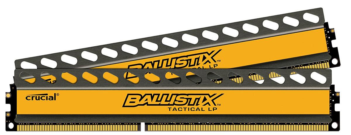 Crucial Ballistix Tactical LP DDR3L 2x8Gb 1600 МГц комплект модулей оперативной памяти (BLT2C8G3D1608ET3LX0CEU)BLT2C8G3D1608ET3LX0CEUМодули оперативной памяти Crucial Ballistix Tactical LP типа DDR3L предоставляют качество работы, надежность и производительность, требуемую для современных компьютеров сегодня. Оснащены теплоотводом, выполненным из чистого алюминия, что ускоряет рассеяние тепла. Благодаря низкому напряжению (1,35 В), снижается потребление энергии, что обеспечивает меньший нагрев и бесшумную работу ПК.Общий объем памяти составляет 16 ГБ, что позволит свободно работать со стандартными, офисными и профессиональными ресурсоемкими программами, а также современными требовательными играми. Работа осуществляется при тактовой частоте 1600 МГц и пропускной способности, достигающей до 12800 Мб/с, что гарантирует качественную синхронизацию и быструю передачу данных, а также возможность выполнения множества действий в единицу времени. Параметры тайминга 8-8-8-24 гарантируют быструю работу системы. Имеется поддержка XMP для удобного разгона в автоматическом режиме.