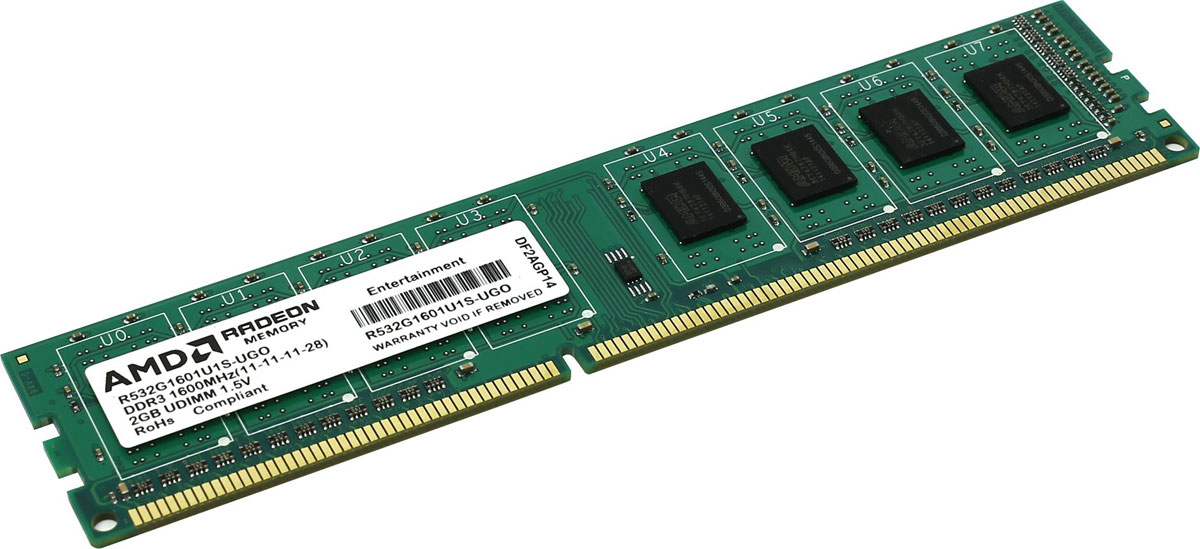 AMD Radeon DDR3 2GB 1600MHz модуль оперативной памяти (R532G1601U1S-UGO)