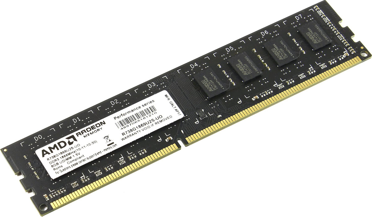 AMD Radeon R7 DDR3 8GB 1866MHz модуль оперативной памяти (R738G1869U2S-UO)R738G1869U2S-UOРасширьте возможности имеющегося оборудования путем простого и экономичного обновления памяти от AMD.Работаете ли вы в Интернете, смотрите ли потоковое видео в потрясающем HD-качестве или играете в самые требовательные видеоигры - память AMD Radeon настроена на обеспечение максимальной производительности процессора, что является залогом быстрой и невероятно плавной работы ПК.Последовательность загрузки опирается на стандартные частоты и временные соотношения DDR3, что помогает обеспечить функциональность и стабильность системы.Разработка и тестирование в соответствии с высочайшими стандартами для обеспечения оптимальной работы на новейших платформах AMD и функциональное тестирование на платформах конкурентов.Максимально используйте потенциал имеющейся памяти и наслаждайтесь быстрой загрузкой и сохранением своих любимых приложений. После установки любой памяти AMD Radeon можно использовать до 6 ГБ Radeon RAMDisk.