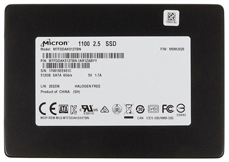 Crucial Micron 1100 512GB SSD-накопитель (MTFDDAK512TBN-1AR1ZABYY)MTFDDAK512TBN-1AR1ZABYYВнутренний SSD-накопитель Crucial Micron 1100 - ультратонкая модель, которая может устанавливаться не только в настольные компьютеры, но также в портативные рабочие станции, ноутбуки и другие подобные устройства.В производстве накопителя применяется технология TLC 3D NAND. Особая конструкция ячеек памяти обеспечивает мгновенный доступ к информации, позволяя получить скорость записи до 500 Мб/с и скорость чтения до 530 Мб/с. Кроме того, она делает их очень надежными, повышая суммарный объем записываемых данных (TBW) в 5 раз по сравнению со средним показателем в отрасли.Минимальное энергопотребление в режиме ожидания помогает существенно снизить нагрузку на батарею портативного устройства, увеличив продолжительность его автономной работы.Поддержка современных методик шифрования исключает несанкционированный доступ к важным данным даже при краже или потере девайса.Время наработки на отказ: 1500000 ч