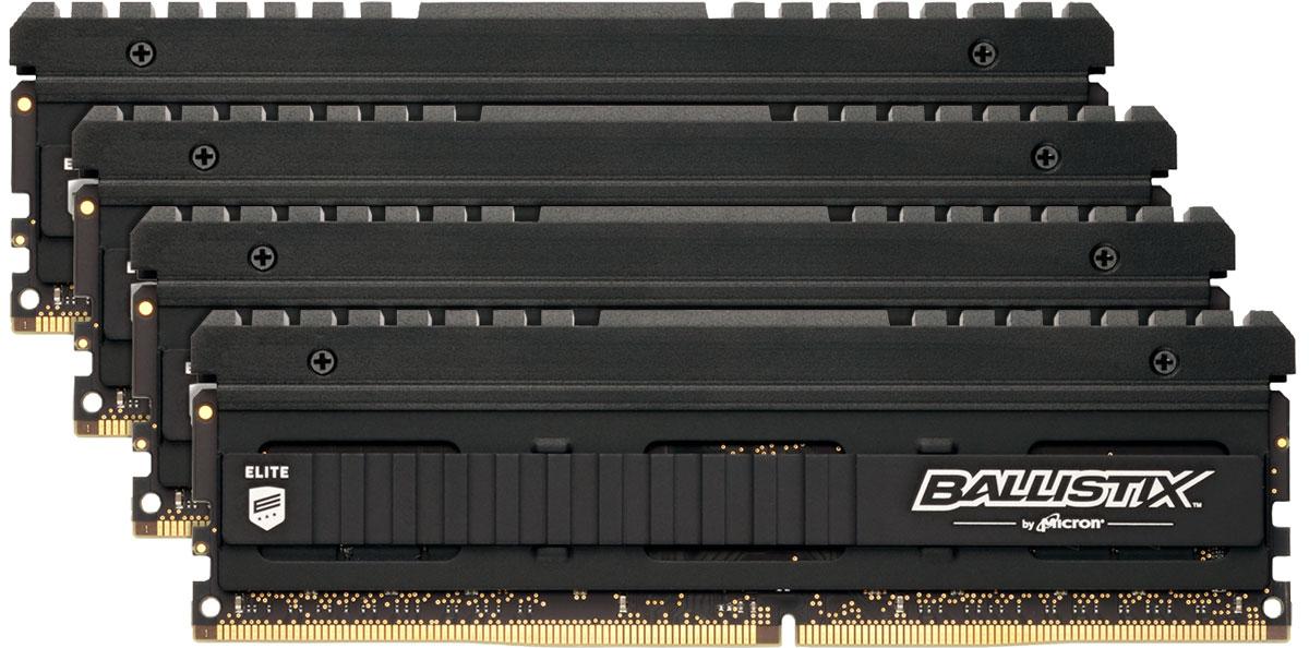 Crucial Ballistix Elite DDR4 4x4Gb 2666 МГц комплект модулей оперативной памяти (BLE4C4G4D26AFEA)BLE4C4G4D26AFEAКомплект модулей оперативной памяти Crucial Ballistix Elite типа DDR4 обеспечивает увеличенную рабочую частоту (по сравнению с предыдущем поколением) при сниженном тепловыделении и экономном энергопотреблении. Благодаря низкому напряжению (1,2 В), снижается потребление энергии, что обеспечивает отсутствие нагрева и бесшумную работу ПК. Теплоотвод выполнен из чистого алюминия, что ускоряет рассеяние тепла.Общий объем памяти в 16 ГБ позволит свободно работать со стандартными, офисными и профессиональными ресурсоемкими программами, а также современными требовательными играми. Работа осуществляется при тактовой частоте 2666 МГц и пропускной способности, достигающей до 21300 Мб/с, что гарантирует качественную синхронизацию и быструю передачу данных, а также возможность выполнения множества действий в единицу времени. Параметры тайминга 16-17-17-36 гарантируют быструю работу системы. Имеется поддержка XMP 2.0 для удобного разгона в автоматическом режиме.