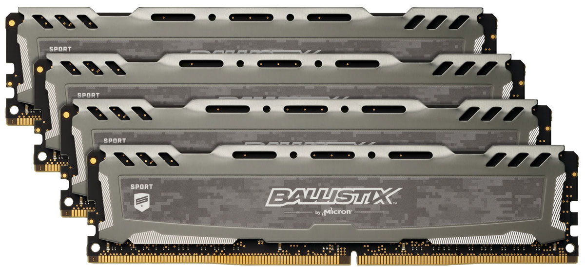 Crucial Ballistix Sport LT DDR4 4х8Gb 2400 МГц, Gray комплект модулей оперативной памяти (BLS4C8G4D240FSB)BLS4C8G4D240FSBКомплект модулей оперативной памяти Crucial Ballistix Sport LT типа DDR4 обеспечивает увеличенную рабочую частоту (по сравнению с предыдущем поколением) при сниженном тепловыделении и экономном энергопотреблении. Благодаря низкому напряжению (1,2 В), снижается потребление энергии, что обеспечивает отсутствие нагрева и бесшумную работу ПК. Теплоотвод выполнен из чистого алюминия, что ускоряет рассеяние тепла.Общий объем памяти в 32 ГБ позволит свободно работать со стандартными, офисными и профессиональными ресурсоемкими программами, а также современными требовательными играми. Работа осуществляется при тактовой частоте 2400 МГц и пропускной способности, достигающей до 19200 Мб/с, что гарантирует качественную синхронизацию и быструю передачу данных, а также возможность выполнения множества действий в единицу времени. Параметры тайминга 16-16-16-39 гарантируют быструю работу системы. Имеется поддержка XMP 2.0 для удобного разгона в автоматическом режиме.