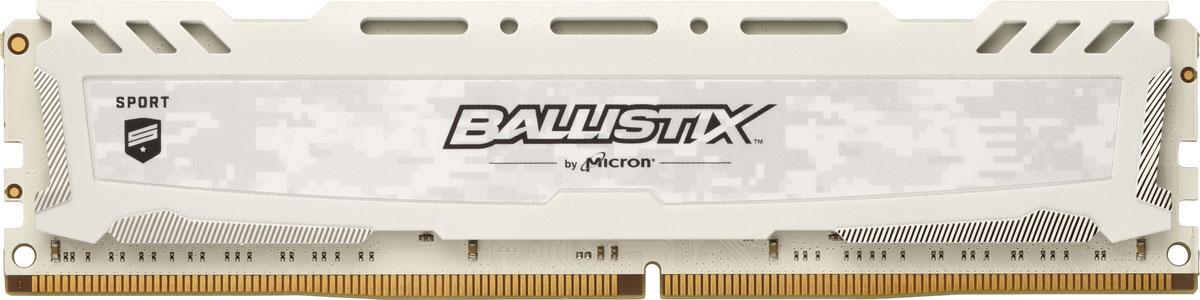 Crucial Ballistix Sport LT DDR4 8Gb 2666 МГц, White модуль оперативной памяти (BLS8G4D26BFSCK)BLS8G4D26BFSCKМодуль оперативной памяти Crucial Ballistix Sport LT типа DDR4 обеспечивает увеличенную рабочую частоту (по сравнению с предыдущем поколением) при сниженном тепловыделении и экономном энергопотреблении. Благодаря низкому напряжению (1,2 В), снижается потребление энергии, что обеспечивает отсутствие нагрева и бесшумную работу ПК. Теплоотвод выполнен из чистого алюминия, что ускоряет рассеяние тепла.Объем памяти в 8 ГБ позволит свободно работать со стандартными, офисными и профессиональными ресурсоемкими программами, а также современными требовательными играми. Работа осуществляется при тактовой частоте 2666 МГц и пропускной способности, достигающей до 21300 Мб/с, что гарантирует качественную синхронизацию и быструю передачу данных, а также возможность выполнения множества действий в единицу времени. Параметры тайминга 16-18-18-38 гарантируют быструю работу системы. Имеется поддержка XMP 2.0 для удобного разгона в автоматическом режиме.