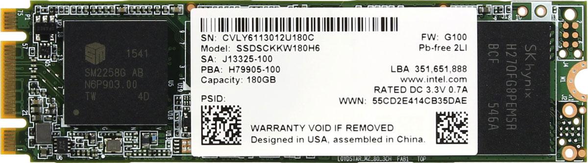 Intel 540s Series 180GB SSD-накопитель (SSDSCKKW180H6X1)SSDSCKKW180H6X1SSD-накопитель Intel 540s Series станет хорошим решением для создания системного диска. Операционная система, установленная на представленную модель, станет загружаться и работать существенно быстрее по сравнению со стандартными механическими жесткими дисками.Обмен данными осуществляется посредством распространенного интерфейса SATA III. Система вашего ПК сможет еще быстрее записывать данные на жесткий диск, а ваши файлы будут быстрее откликаться на запросы.Накопитель Intel 540s Series изготавливается с использованием технологии TLC, способной обеспечить максимальное быстродействие и надежность на весь срок эксплуатации.Форм-фактор М.2 позволяет устанавливать представленную модель в самые современные материнские платы.