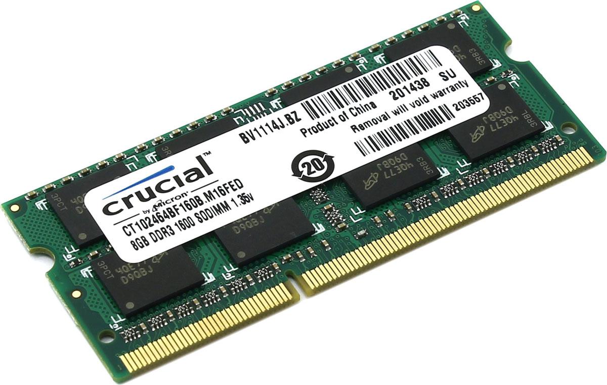 Crucial SO-DIMM DDR3L 8Gb 1600 МГц модуль оперативной памяти (CT102464BF160B)777716Небуферезированная память Crucial SO-DIMM DDR3L предоставляет качество работы, надежность и производительность, требуемую для современных ноутбуков сегодня. Объем модуля памяти в 8 ГБ позволит свободно работать со стандартными, офисными и профессиональными ресурсоемкими программами, а также современными требовательными играми. Работа осуществляется при тактовой частоте 1600 МГц и пропускной способности, достигающей до 12800 Мб/с, что гарантирует качественную синхронизацию и быструю передачу данных, а также возможность выполнения множества действий в единицу времени. Тайминг CL-11 гарантирует быструю работу системы.