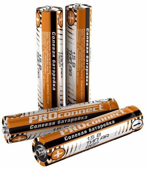 Батарейка солевая PROconnect, АА тип R6P, 4 шт30-0010Солевая батарейка предназначена для работы в устройствах с низким и средним потреблением тока.