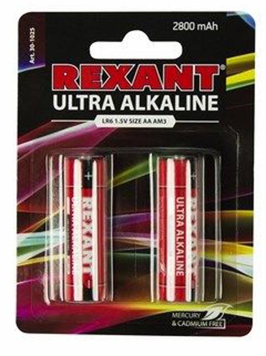Батарейка ультра алкалиновая Rexant, AA (LR6), 2 шт30-1025Ультра алкалиновая батарейка AA/LR6 Rexant применяется во всех устройствах, использующих в качестве питания батарейки, как обычные, так и энергоемкие. Разработана и произведена с использованием новейших технологий и оборудования.Повышенная безопасность использования достигается благодаря отсутствию в составе ртути и кадмия. Наличие современных высокотехнологичных компонентов позволяют обеспечить на 50% большую работоспособность.Тип: АА. Выходное напряжение: 1,5 В.