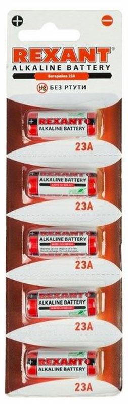 Батарейка Rexant, тип 23A, 5 шт30-1042Батарейка для использования в автосигнализации, беспроводных звонков и других специальных приборов.