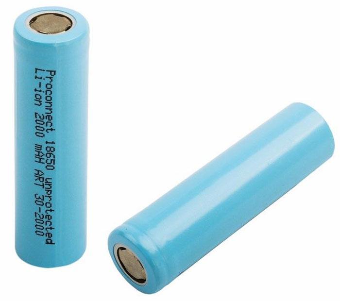 Аккумулятор PROconnect 18650, unprotected Li-ion 2000 mAH30-2000-01Литий-ионные аккумулятор 18650 предназначен для использования в фонарях и других устройствах с высоким энергопотреблением.
