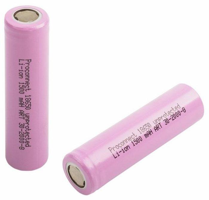 Аккумулятор PROconnect 18650, unprotected, Li-ion 1500 mAH30-2000-8-01Литий-ионные аккумулятор 18650 предназначен для использования в фонарях и других устройствах с высоким энергопотреблением.