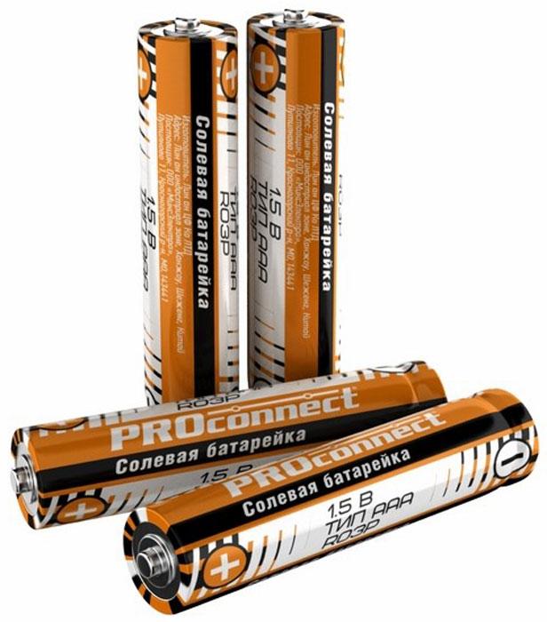 Батарейка солевая PROconnect, тип ААА-R03P, 4 шт30-0020Солевая батарейка предназначена для работы в устройствах с низким и средним потреблением тока.