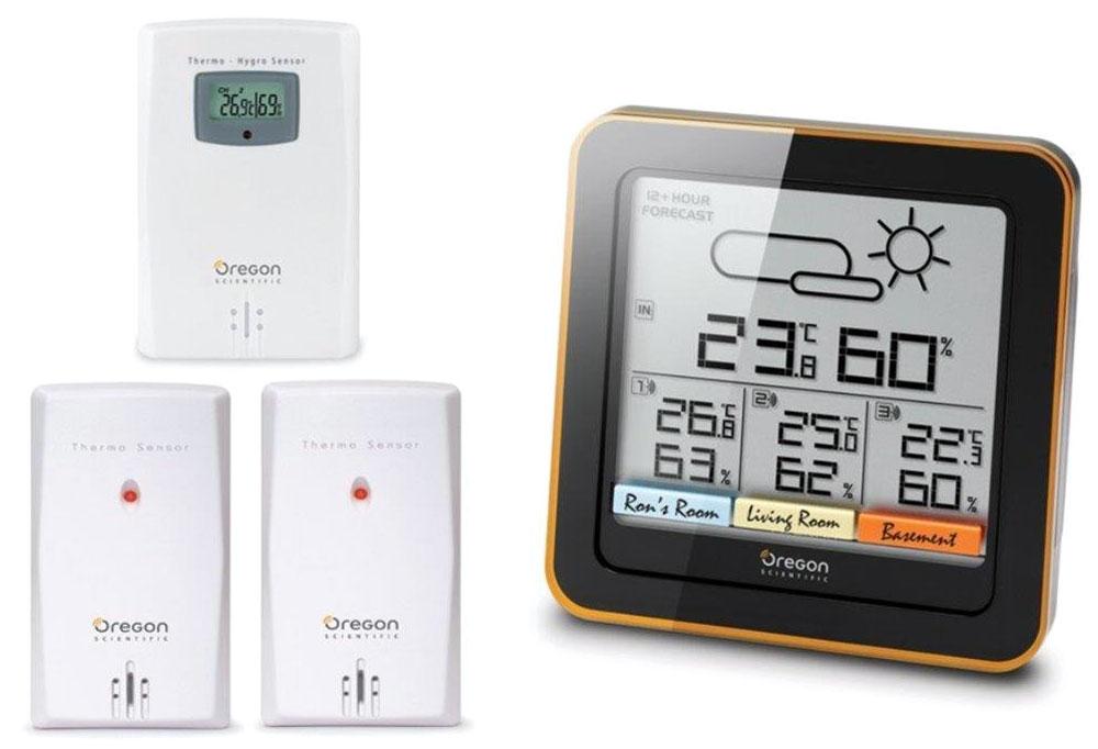 Oregon Scientific RAR502 погодная станцияRAR502Метеостанция Oregon Scientific RAR502 предназначена для отслеживания температуры и влажности воздуха в вашем доме. Метеостанция отображает текущую температуру как внутри помещения, так и на улице за счет выносного датчика. Прогноз погоды на ближайшие 12-24 часа в радиусе 30 км Измерение температуры и влажности в помещении и на улице – 4 зоны одновременно 3 датчика в комплекте с радиусом действия до 30 м Возможность крепления на стене