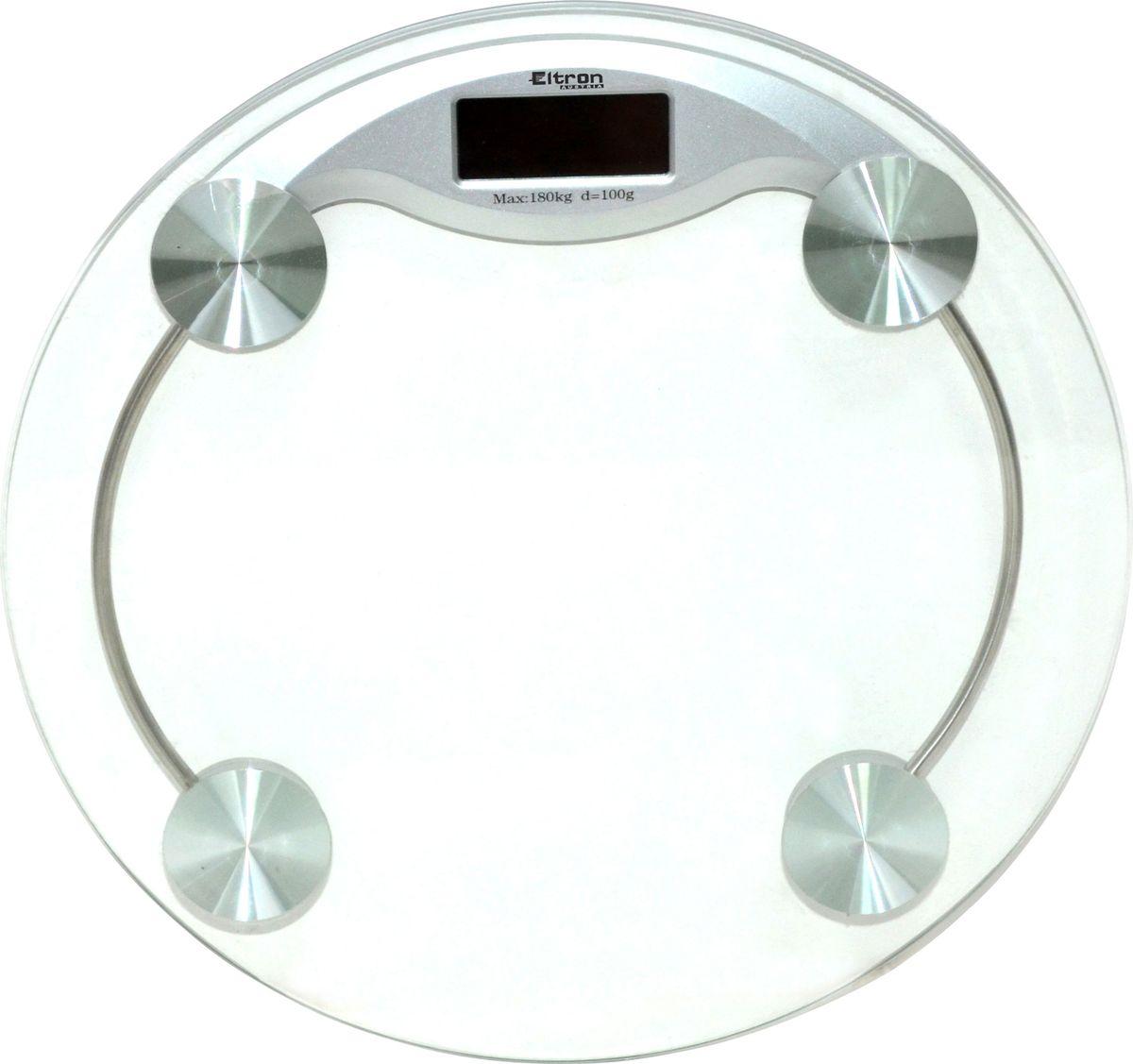 Весы напольные Eltron, электронные, цвет: прозрачный, до 180 кг. 9218EL9218ELЦифровые напольные круглые весы на стеклянной платформе. Жидкокристаллический экран. Максимальный вес 180 кг. Шаг измерения - 0.1 кг.1х3В батарея входит в комплект.Размер: 33 х 3,7 см.