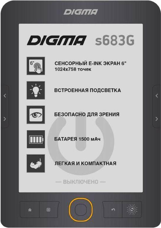 Digma S683G, Gray электронная книгаS683GЭлектронная книга Digma S683 из обновленной линейки 2017 года сочетает в себе все функции, необходимые для комфортного чтения. Книга обладает отличными характеристиками: встроенным сенсорным экраном с подсветкой, созданным на основе новой технологии E-Ink HD CARTA, удобными кнопками листания, стабильным процессором 600 МГц, ёмким аккумулятором 1500 мАч и слотом для карт microSD.