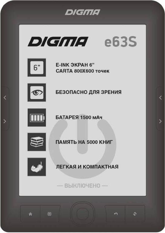 Digma E63S, Dark Gray электронная книгаE63SDGЭлектронная книга Digma E63S из обновленной линейки 2017 года сочетает в себе ключевые функции, необходимые для комфортного чтения за приемлемую цену. Книга обладает отличным экраном, созданным на основе технологии E-Ink CARTA, удобными кнопками листания, стабильным процессором 600 МГц, ёмким аккумулятором 1500 мАч и слотом для карт microSD.