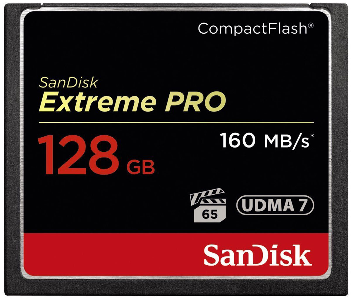 SanDisk Extreme Pro CompactFlash 128GB карта памятиSDCFXPS-128G-X46Карты памяти SanDisk Extreme PRO CompactFlash — это большая емкость, высокая скорость съемки и видео кинематографического качества. Благодаря скорости передачи данных до 160 МБ/с эта карта обеспечивает высокую скорость обработки файлов, которую вы можете ожидать от ведущего мирового лидера по производству карт флеш-памяти. Эта карта памяти, занимающая лидирующие позиции в отрасли, оптимизирована для профессиональной видеосъемки с минимальной устойчивой скоростью записи 65 МБ/с для видео высокого разрешения 4K и Full HD. Емкость 128 ГБ позволяет записать несколько часов видео и тысячи фотографий высокого разрешения. Для того чтобы вы никогда не пропустили важную сцену или кадр, эта карта памяти устойчива к экстремальным температурам, ударам и другим воздействиям.Карта памяти SanDisk Extreme PRO CompactFlash является первой в мире картой высокой емкости, которая поддерживает VPG-655, а гарантия производительности видео (VPG) обеспечивает надежность и последовательность записи видео в форматах 4K и Full HD. Рабочие характеристики этой карты памяти способны удовлетворить самых требовательных профессионалов, которым необходимо высочайшее качество видеозаписи.Карта памяти Extreme PRO CompactFlash, оптимизированная для видеосъемки в формате 4K, обеспечивает минимальную устойчивую скорость записи 65 МБ/с рекордной пиковой скоростью записи снимков до 150 МБ/с. Скорость передачи данных до 160 МБ/с позволяет с легкостью перемещать для хранения и редактирования даже большие файлы. Эта карта памяти также поддерживает стандарт UDMA 7.Благодаря высокой надежности и быстродействию этой карты памяти вы сможете снимать быстрее, работать продуктивнее, а также эффективнее использовать такие современные функции, как съемка нескольких кадров в секунду и непрерывная серийная съемка.Карты памяти SanDisk Extreme PRO CompactFlash способны работать при температурах от –25 до +85 °C, что позволяет записывать видео в формате Ful