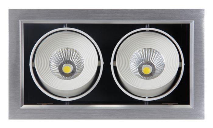 Светильник светодиодный Jazzway PSP-S 112, карданный 24°, IP40, 4000K, 2x9 Вт.1038135Jazzway Светильник PSP-S 112 2x9W 4000K 24° GREY Карданный IP40