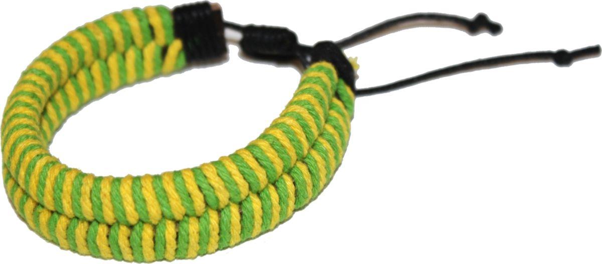 Браслет Ethnica, цвет: зеленый, желтый. 371035Браслет с подвескамиСтильный браслет Ethnica, выполненный из натуральных кожаных шнурков, оплетенных яркими веревочками, отлично впишется как в мужской, так и в женский образ. Размер браслета регулируется благодаря удобному скользящему замку.Трендовый браслет будет смотреться оригинально как в деловом стиле, так и в брутальном casual-образе.