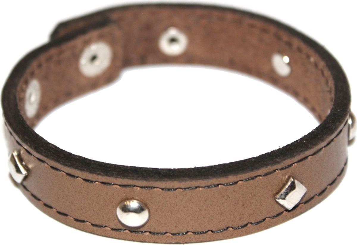 Браслет Ethnica, цвет: коричневый. 2000042653484Брелок для ключейСтильный браслет Ethnica, выполненный из широкого кожаного ремешка с металлическими клепками, отлично впишется как в мужской, так и в женский образ. Размер браслета регулируется с помощью двух кнопок.Трендовый кожаный браслет будет смотреться оригинально как в деловом стиле, так и в брутальном casual-образе.