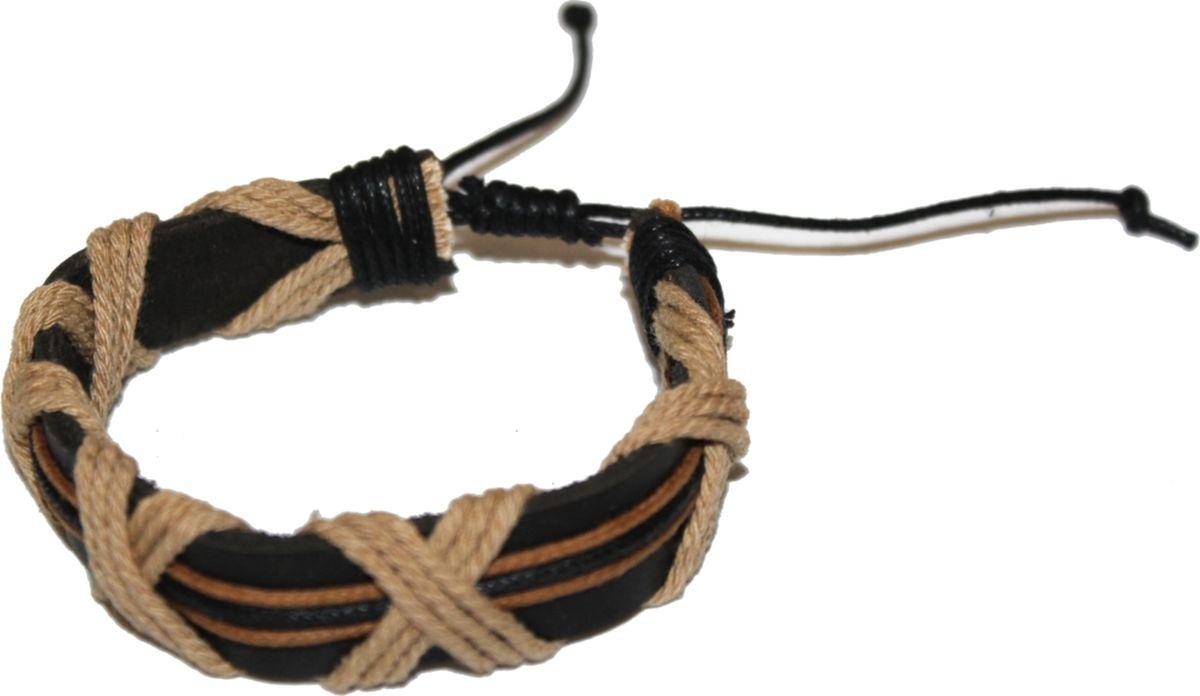 Браслет Ethnica, цвет: коричневый. 2000042653682Серьги с подвескамиСтильный браслет Ethnica, выполненный из натуральных кожаных ремешков, оплетенных веревочками, отлично впишется как в мужской, так и в женский образ. Размер браслета регулируется благодаря удобному скользящему замку.Трендовый кожаный браслет будет смотреться оригинально как в деловом стиле, так и в брутальном casual-образе.