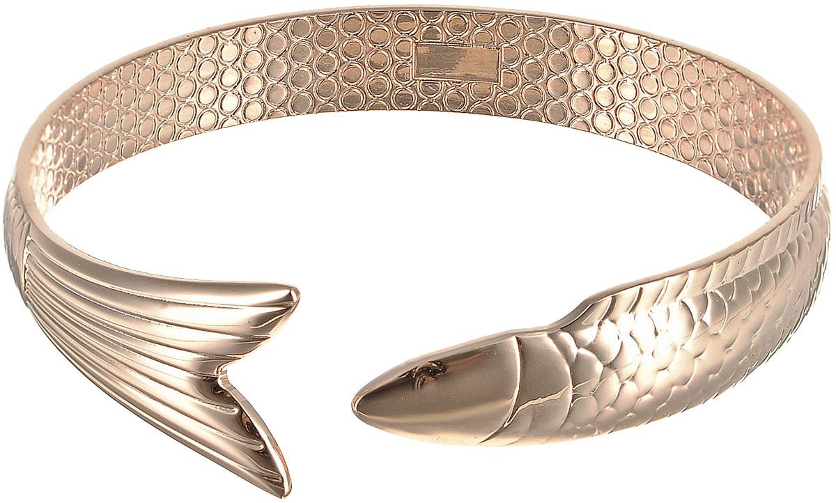 Браслет женский Bradex Русалка, цвет: золотой. AS 012739864 Серьги с подвескамиОригинальный браслет выполнен в виде изящного металлического ободка с фактурой «под рыбью чешую», оканчивающийся рыбьим хвостом — совсем, как у повелительницы Морей. Покрытие из 18-каратного розового золота защитит украшение и надолго сохранит блеск.