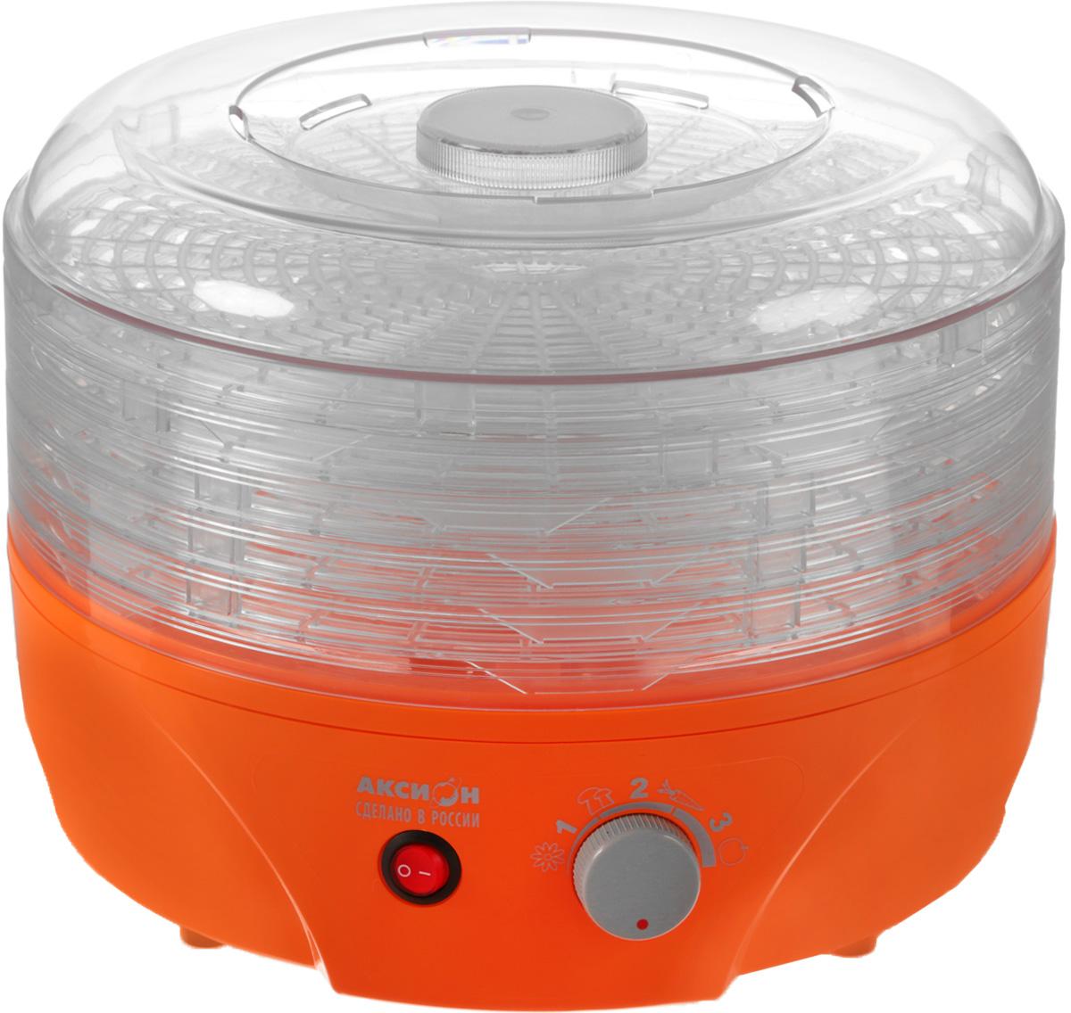 Аксион Т33, Orange сушилка для овощейАксион Т-33Сушилка для овощей и фруктов Аксион Т-33 - отличное решение для заготовок овощей и фруктов. Благодаря 5 съемным регулируемым по высоте прозрачным секциям вы с легкостью сможете сушить одновременно не только фрукты или овощи, но и ягоды, травы, грибы. Используя регулировку температуры, вы без труда сможете подобрать наиболее оптимальный вариант для сушки. Мощный электродвигатель с вентилятором помогут сохранить питательные вещества и обеспечат равномерное обезвоживание ингредиентов.Управление: механическоеМатериал корпуса: пластикРегулировка высоты поддона