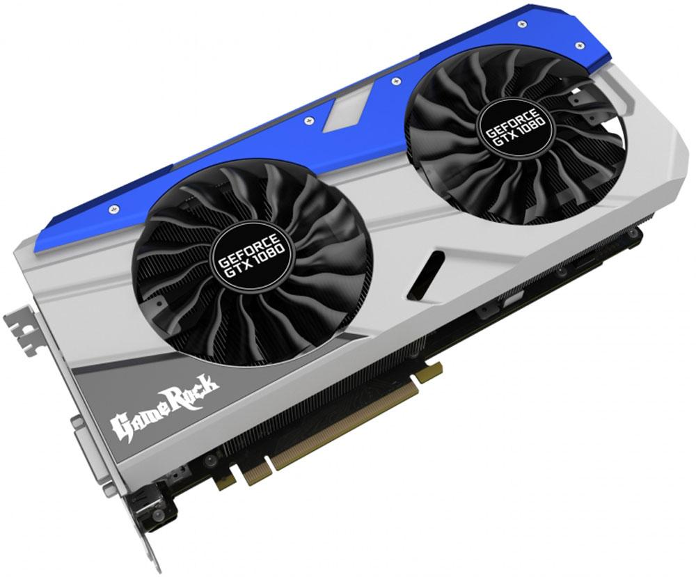 Palit GeForce GTX 1080 GameRock 8GB видеокартаPA-GTX1080 GAMEROCK 8GНовая игровая видеокарта Palit GeFroce GTX 1080 GameRock создана для требовательных игроков, предпочитающих максимальные графические настройки. В видеокарте используются лучшие игровые технологии, максимально эффективная система охлаждения и высококачественные компоненты. С GameRock каждый пользователь может стать игровой рок-звездой.Видеокарты серии GeForce GTX 10 созданы на основе архитектуры Pascal и обеспечивают увеличение производительности до 3-х раз по сравнению с видеокартами предыдущего поколения, а также они поддерживают новые игровые технологии и революционные возможности VR.Захватывайте изображение и создавайте внутриигровые скриншоты с углом обзора 360 градусов. Делайте скриншоты с любой точки обзора, редактируйте их с помощью фильтров постобработки, записывайте HDR изображения в высоком разрешении и просматривайте их с обзором 360 градусов с помощью смартфона, ПК или гарнитуры виртуальной реальности.Цвет светодиодной RGB-подсветки может изменяться в зависимости от температуры видеокарты, что позволяет определить температуру и нагрузку по внешнему виду. Поддержка 16.8 миллионов цветов предоставляет возможность индивидуальной настройки каждому пользователю в соответствии с личными предпочтениями.Стильная металлическая пластина на обратной стороне обеспечивает защиту от механических повреждений. Уникальный внешний вид позволяет каждому геймеру визуально оценить высокое качество видеокарт серии GameRock.В разработанной для серии GameRock системе охлаждения на 22% увеличены площадь радиатора и количество пластин. Медное основание напрямую соприкасается с поверхностью графического процессора и тепловыми трубками, что обеспечивает увеличение эффективности охлаждения по сравнению с предыдущей конструкцией.8 фаз обеспечивают запас электропитания для 2560 ядер графического процессора, уменьшение нагрузки на каждую из фаз улучшает стабилизацию напряжения и эффективность подсистемы питания в целом