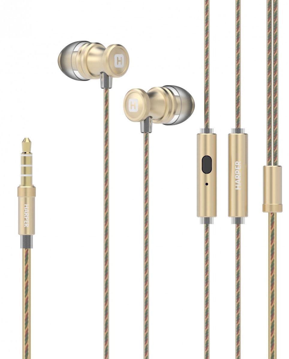 Harper HV-806, Gold наушники00-00001330Проводные стереонаушники Harper HV-806 имеют оптимальную для уха форму (выполнены в бионическом дизайне). Силиконовые накладки трех самых популярных размеров поставляются в комплекте – это позволит вам подобрать такой вариант, который будет наиболее комфортен при использовании наушников.Технические характеристики Harper HV-806 обеспечивают максимально качественную передачу звука прослушиваемых композиций любого стиля. Довольны останутся и любители насыщенных басов. Встроенный в корпус наушников миниатюрный микрофон позволяет использовать Harper HV-806 в качестве телефонной гарнитуры – совершать, принимать и отклонять звонки, оставляя при этом руки свободными.Управление треками осуществляется при помощи всего одной кнопки на корпусе наушников. Специальные комбинации нажатий подробно описаны в инструкции по эксплуатации.