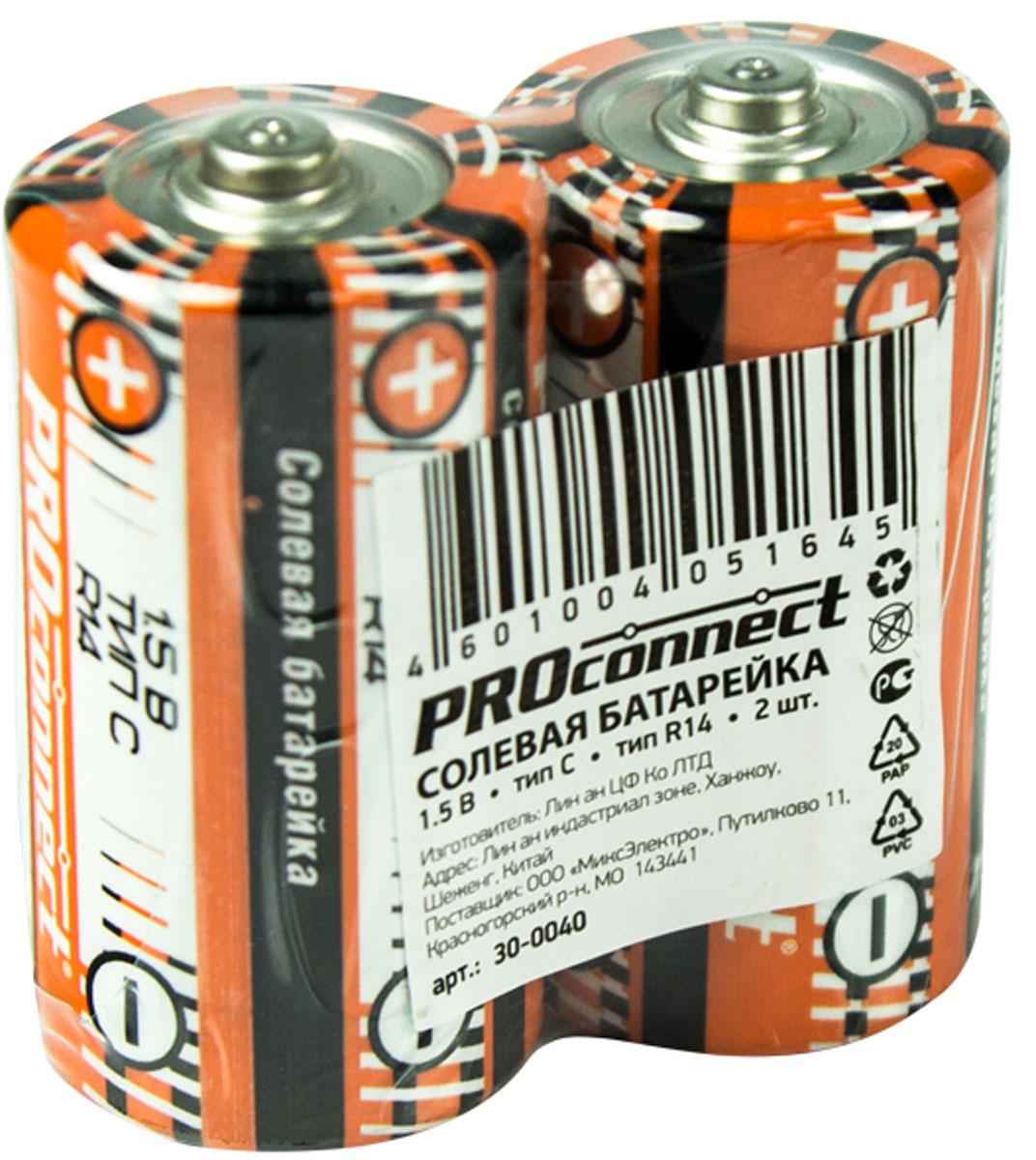Батарейка солевая PROconnect, С тип R14, 2 шт30-0040Солевая батарейка предназначена для работы в устройствах с низким и средним потреблением тока.