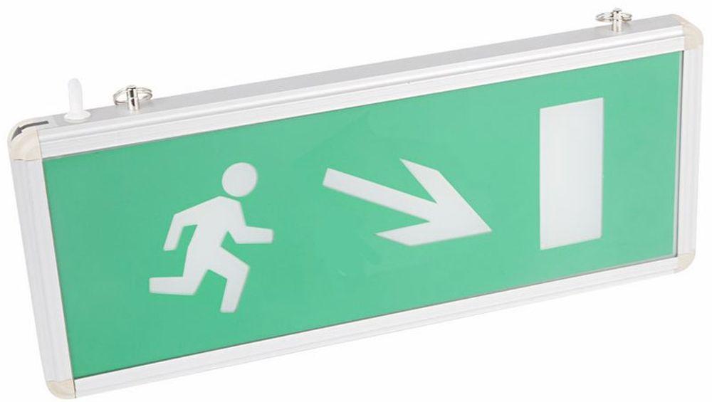 Светильник аварийный Rexant Направление к эвакуационному выходу направо вниз, светодиодный74-0130Аварийные светильники предназначены для установки во внутренних помещениях промышленных предприятий, гражданских зданий и сооружений. Обеспечивая освещение и сообщение необходимой информации (направление выхода, выхода) в случае прекращения подачи электроэнергии.Характеристики:• Способ крепления: настенный, подвесной.• Исполнение: односторонний.• Номинальное напряжение: 180-240 В, 50/60 Гц.• Количество светодиодов в светильнике: 4 шт.• Мощность: 3 Вт.• Размеры стекла: 329 x 118 мм.• Размеры светильника: 355 x 145 x 20 мм.• Степень защиты: IP30.• Тип аккумуляторных батарей: никель-кадмиевые 1.2 В. • Время работы от аккумулятора: 90 минут. • Материал корпуса: алюминиевый сплав.Источником света в светильнике является светодиодная линейка, использование которой дает преимущество в сравнении с применяемыми в настоящее время люминесцентными лампами и лампами накаливания. Светильник имеет два варианта крепления: настенное и потолочное. Световые указатели имеют встроенный аккумулятор и сохраняют работоспособность при отсутствии напряжения в течение 90 минут.